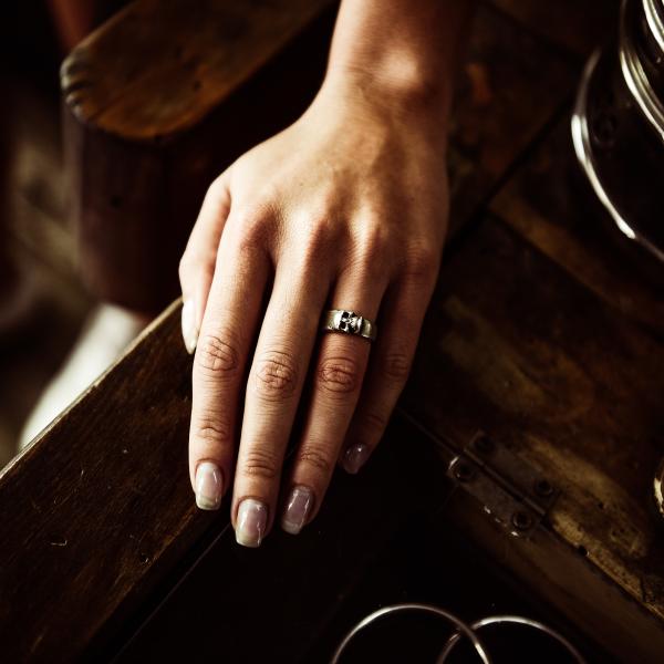 Sterling Silver Sideways Skull Ring