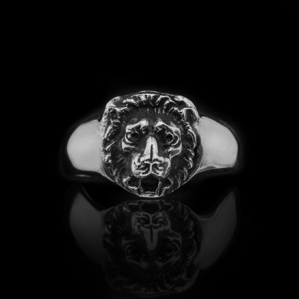 Sterling Silver Small Lion Head Ring